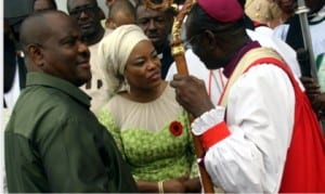 L-R: Rivers State Governor, Chief Nyesom  Wike, his wife, Justice Suzzette and the Archbishop of Anglican Church, Niger Delta Province,Archbishop Ignatius Kattey, at the Inter-denominational service to mark the 2016 Armed Forces Remembrance Day in Port Harcourt  on Sunday.