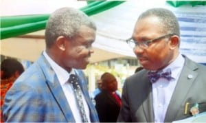 Rivers State Head of Service, Rufus Godwins (Esq) (right), with the Pastor in charge of Greater Evangelism Church, Pastor Isaac Olori, during the thanksgiving and dedication service of the Rivers State Civil Service in Port Harcourt, yesterday. Photo: Chris Monyanaga
