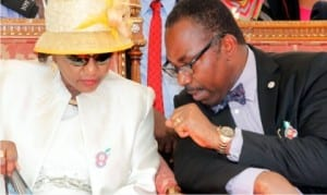 Rivers State Deputy Governor, Dr. (Mrs) Ipalibo Harry Banigo, chatting with the Head of Civil Service, Rivers State, Barr. Rufus Godwin during the State Civil Service 2016 thanksgiving/dedication service organised by the state Civil Service in Port Harcourt, yesterday.