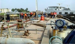 The MT Camille Vessel intercepted by the Nigerian Navy Ship (NNS), with about 4,000 metric tons of crude allegedly stolen by suspected oil thieves, in Warri on Sunday.