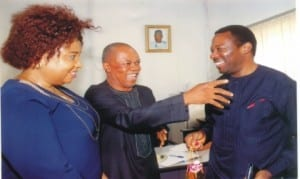 Rivers State Commissioner for Information and Communciations, Dr Austin Tam-George (right), exchanging pleasantries with Engr Emechebe Jonas of Treasure FM and the Head of News, South-South Zone of the media outfit, during the Commissioner's visit to the media house in Port Harcourt on WednesdayPhoto: Egberi A.Sampson