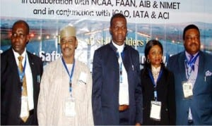 L-R: Regional Officer, International Civil Aviation Organization, Mr Albert Taylor, Director, Operation and Training, Nigerian Civil Aviation Authority, Capt. Abdullahi Sidi, Managing Director, Nigeria Airspace Management Agency, Mr Ibrahim Abdulsalam, Regional Director, International Air Transport Association, Mrs Adefunke Adeyemi and Director, Airport Operations, Federal Airport Authority of Nigeria, Capt. Henry Omegue, at the Runway Safety Workshop in Lagos on Monday