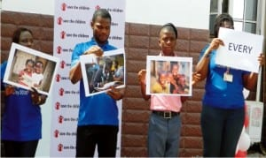 Officials of Save the Children Global Day of Action for Children By 2030', making a presentation at the Save the    Children Country Office in Maitama, Abuja, yesterday