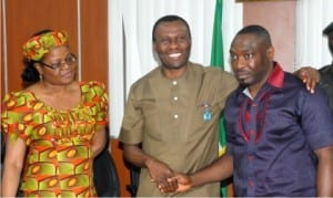 L-R: Permanent Secretary, Ministry of Niger Delta Affairs, Belema Wakama,  Minister of Niger Delta Affairs, Usani Uguru Usani, and President, Ijaw Youth Council, Udengs Eradiri, during the visit of leaders of the council to the Ministry in Abuja on Wednesday