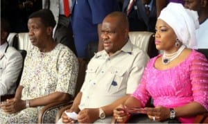 L-R: General Overseer, Redeemed Christian Church of God (RCCG), Pastor Enoch Adeboye, Rivers State Governor, Chief Nyesom Wike and his wife, Justice Suzzette,  during the Holy Ghost Rally in Port Harcourt, yesterday.