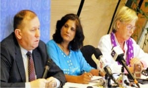 L-R: United Nations Special Repporteur on the Right to Health, Dainius Puras, Special Repporteur on Contemporary Forms of Slavery, Urmilla Bhoola, and the Special Repporteur on Sale of Children, Child Pornography and Child Prostitution, Maude De Boer-buquicchio, at a news conference by the UN Special Rapporteurs on their Assessment of Nigeria's Preparation for Rehabilitation and Reintegration of Women and Children freed from Boko Haram insurgents, in Abuja on Friday