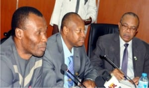 L-R: Minister of Niger Delta Affairs, Usani Uguru Usani, Special Adviser to the President on Niger Delta Affairs, Brig.-Gen. Paul Boroh (Rtd) and Permanent Secretary, Ministry of Interior, Mr Bassy Akpanyung, at an Inter-Agency Consultative  meeting on the recent crisis in the Niger Delta region, convened by the Ministry of Niger Delta Affairs in Abuja on Friday