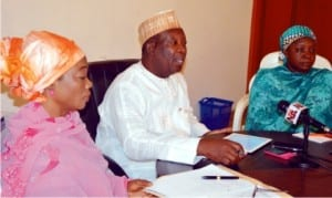 L-R: Director, Planning and Policy Coordination, Federal  Ministry of Agriculture and Rural Development, Mrs Rabi Adamu, National Coordinator, National Agricultural foundation of Nigeria (NAFN), Dr Samuel Negedu  and Deputy National Coordinator of NAFN, Hajiya Aishatu Ibrahim, at a  news conference on National Agricultural Workshop in Abuja last Friday . The National Agricultural Workshop holds in Abuja on February 2-3.