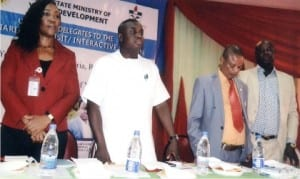 Rivers State Commissioner for Youth Development, Mr Princewill Ogbubula (middle), with Director, Enterprise Development, Ministry of Youth Development, Dr Festus Ugwuzuo (right), Okitche Womuru (2nd right) and Mrs Rhuoma Kejeh, during an interactive session with youth of the state in Port Harcourt, recently.