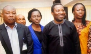 Rivers State Commissioner for information and Communications,  Dr. Austin Tam-George (2nd right),  with Director  of Administration, Ministry of Information and Communications, Mr. Godpower O. Ordu (left), Chairman, RATTAWU, Rivers State council, Comrade, Opi Erekosima (right) and Assistant Secretary, RATTAWU, Ebi Ogolo (2nd left), during a courtesy visit to the commissioner in Port Harcourt, yesterday Photo: Egberi  A. Sampson