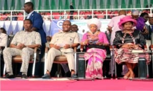 L-R: General Overseer, Redeemed Christian Church of God (RCCG), Pastor Enoch Adeboye, Rivers State Governor, Chief Nyesom Ezenwo Wike, his wife, Justice Eberechi Suzette Wike (2nd right) and the Deputy Governor, Dr. (Mrs) Ipalibo Harry Banigo, during an Holy Ghost Rally in Port Harcourt, recently.