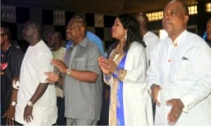 L-R: Rivers State Finance Commissioner, Dr Fred Kpakol, Rivers State Governor, Chief Nyesom Wike, his wife, Justice Suzette Eberechi  and PDP Acting National Chairman, Prince Uche Secondus at the Salvation Ministries, Port Harcourt, yesterday.