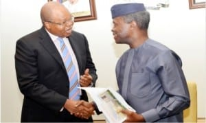 Vice-President Yemi Osinbajo (right), in a handshake with Regional Senior Partner, West Africa, Price Waterhouse Coopers (PWC), Mr Uyi Akpata,  during a meeting at the Presidential Villa in Abuja on Friday