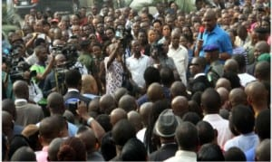 Rivers State Governor, Chief Nyesom Wike, addressing civil servants at the State Secretariat complex in  Port Harcourt, yesterday.