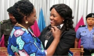 Rivers State Deputy Governor, Dr.Ipalibo Harry- Banigo (left), in a warm embrace with the wife of the State Governor, Justice, Eberechi Suzette Wike, during a meeting/workshop on Women Empowerment and Sustainable Development in Port Harcourt, recently.