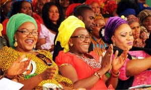 L-R: Wife of the Governor of Enugu State, Mrs Monica Ugwuanyi, wife of the former Deputy Governor of Enugu State, Mrs Onyeka Onyebuchi and wife of the Speaker of Enugu State House of Assembly, Mrs Akunna Ubosi, during Enugu women prayer rally in Enugu, yesterday