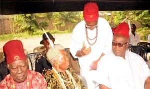 L-R: Chief Kenneth Ekedoke, Traditional Ruler, Hilltop Autonomous Community of Enugu State, Ozo Sunday Orji, Chief Denis Chukwuemeka and guest of honour, Ozo Gab Agu, at the beginning of year 2016 community meeting in Enugu, recently