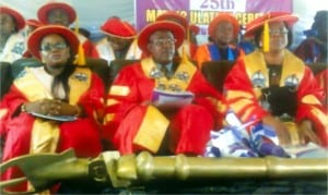 Acting Provost,  Rivers State College of Arts and Science (RIVCAS), Dr Samuel B. Kalagbor (middle), Registrar of the college, Georgenia Benwoke (right) and Acting Head, Library, Mrs Eisemen Lulu-Pokubo, at  the 25th matriclation ceremony of new students in Port Harcourt on Thursday