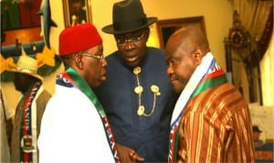 Rivers State Governor, Chief Nyesom  Wike (right), Bayelsa State Governor, Hon Seriake Dickson (middle) and their Delta State counterpart,   Senator Ifeanyi Okowa, during  the  swearing -in of Governor  Dickson for a second term in Yenagoa,  yesterday.