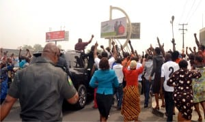 Governor Nyesom Wike, acknowledging cheers during his victory tour of Port Harcourt shortly after the Supreme Court pronounced him winner of the April 11, 2015 governorship election.