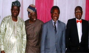 L-R: Dean of Students Affairs, University of Lagos, Prof. Tunde Babawale, Human Rights Lawyer, Mr Femi Falana, Chairman, Office of International Relations, Partnership and Prospects, UNILAG, Prof. Akin Oyebode and Minister of Information and Culture, Alhaji Lai Muhamed, at the Annual Gani Fawehinmi Students Chamber Symposium in Lagos, on Friday.