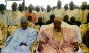 President, Dangote Group of Company, Alhaji Aliko Dangote (left), with Governor Muhammad Badaru of Jigawa State, at the inauguration of Dangote rice out-growers farm in Kafin-Hausa, Jigawa State, recently.