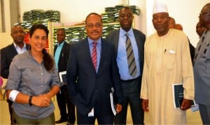 President General, Senior Staff Association of Communication, Transport and Corporation, Mr. Muhammed Yunusa (right), with the management team of Intels during a meeting between the union and Intels in Port Harcourt on Monday Photo: Ibioye Diama