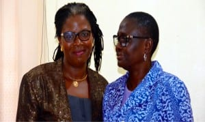 Rivers State  Commissioner for Women Affairs, Barr. (Mrs) Ukel Oyaghire,  with  Chairman, Nigeria Association of Women Journalists, Rivers State chapter, Mrs Lilian Okonkwo, during a courtesy visit to the commissioner in Port Harcourt, recently.        Photo: Ibioye Diama