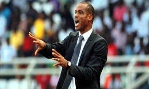 Super Eagles coach Sunday Oliseh giving instructions