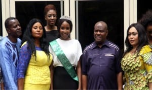 Governor Nyesom Wike of Rivers State (2nd right), with Commissioner for Culture and Tourism, Hon. Tonye Oniyide (right), Miss Nigeria 2015, Miss Pamela Lessi Vigboro (middle), Mr and Mrs Vigboro (parents of Miss Nigeria 2015), during a courtesy call in Government House, Port Harcourt, recently.