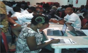 Participants undergoing training at a two-day online workshop for unemployed youths in Rivers State, recently.