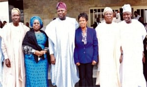 Governor Akinwunmi Ambode of Lagos State (3rd left), his Deputy, Dr Idiat Adebule (2nd left), Chairman, Lagos Civil Service Commission, Mrs Adeyinka Oyemade (3rd right), Commissioner I, Pastor Israel Alagba and other members of the commission, at the inauguration of the commission by Governor Ambode in Lagos, yesterday.