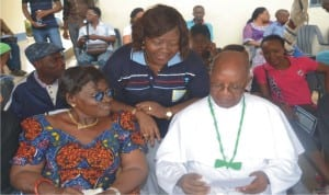 Chairman, Catholic Education,  Rev Father Joseph Kabari (right), with the Board Secretary , Lady Josephine Ogolo (left), during the 5th edition of the Inter-House Sports Competition of Holy Rosary  College in Port Harcourt on Friday. With them is the Principal of the college, Barr. Mrs Vero Efika (middle)   Photo: Nwiueh Donatus Ken