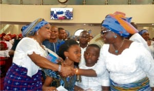 Rivers State Commissioner for Women Affairs, Mrs Ukel Oyaghiri (right), welcoming wife of Rivers State Governor, Justice Suzzette Nyesom Wike, during the Mothers' Day/International Women's Day celebration, in Port Harcourt, yesterday.