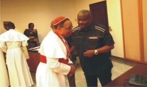 Rivers State Governor, Chief Nyesom Wike (right), welcoming Chairman, Christian Association of Nigeria (CAN), Rivers State, Primate Isaac Anyanasikike, to Government House, Port Harcourt, during  a courtesy visit  recently.
