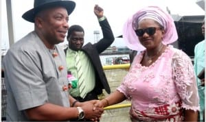 Rivers State Deputy Governor, Dr. (Mrs) Ipalibo Harry-Banigo exchanging pleasantries with the Commissioner for Local Government Affairs, Hon. Rodaford  LongJohn, during a stakeholders meeting at the Governors Lodge, Bonny Local Government Area, Rivers State.