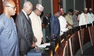 A cross-section of Ministers observing 'one minute silence', during  a special session of the Federal Executive Council meeting in honour of their late colleague, Minister of State for Labour and Employment, James Ocholi , in Abuja on Wednesday