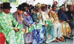 Cross Section of Traditional Rulers during official commissioning of Nkpogu Road /Bridge phase I Thursday.     Photo: Egberi .A. Sampson