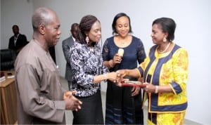L-R: Chairman, L. O. C. Nigerian Optometric Association, Dr. Lucky Kina, Vice Chairperson, L. O. C. Nigerian Optometric Association, Dr. Adeline Aluge and Chairperson, L. O. C. Nigerian Optometric Association, Dr. Chinenye Nwaneri, presenting an Eye Care award to the Rivers State Deputy Governor, Dr. Ipalibo Harry-Banigo, during a courtesy visit in Government House, Port Harcourt.
