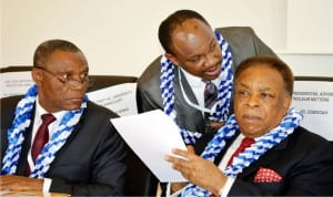 From Left: Former Vice Chancellor, Prof. Joseph Ajienka, Chairman, Society of Petroleum Engineers, Nigeria Council, George Kalu, and former Presidential Adviser on Petroleum Resources, Dr Emmanuel Egboga, at the 5th Oloibiri Lecture Series and Energy Forum, in Abuja recently