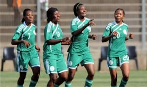 Nigeria's female team celebrating after victory