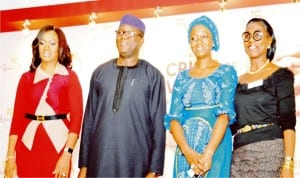 L-R: Chairperson, Women in Management, Business & Public Service (wimbiz) Aishah Ahmad, Minister of Solid Minerals, Dr Kayode Fayemi, Moderator, Aisha Osori and chairman, Wimbiz board of Trustees, Mrs. Ifeoma idigbe at the wimbiz  annual lecture in Lagos last  Thursday.