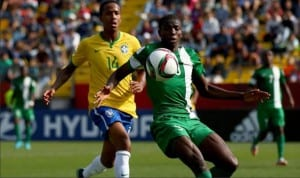 Nigeria's youth prodigy, Victor Osimhen (right) in action. He has stated his desire to see Nigeria's U-23 team beat Brazil in their own backyard when both countries engage in a friendly match, later this month