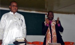 Bishop Godwill Jumbo (right) flanked by Rev Peter W. Georgewill, at a one night of spiritual prayer warefare confernece for peace of National/State Assembly re-run elections organised by Rivers State Grassroots Intercessors and prayer warriors conference held on Wednesday in Port Harcourt.     Photo: Ibioye Diama