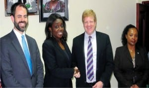 L-R President  International  Affairs, US Chamber of Commerce, Mr Scott Eisner, Minister of Finance, Mrs Kemi Adeosun; Executive Vice President and Head of  International  Affairs, US Chambers of  Commerce, Mr Myron Brilliant and Director Policy Africa, U S Chamber of Commerce, Mrs Lala Ndiaye,  during  a courtesy  call on the minister  in Abuja recently.