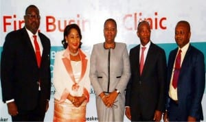 L-R Managing Director Mobil Oil Nigeria Plc. Mr Tunji Oyebanji; President, Lagos Chamber of Commerce and Industry, Chief Nike Akande, Executive Vice Chairman Techno Oil, Mrs Nkechi Obi; Managing Director, Petrowest Energy Resources Ltd, Mr Reginald Stanly and Chairman, Petroleum Downstream Group, Mrken Abazie, at the first business clinic of the Petroleum Downstream Group of the Lagos Chamber of Commerce and Industry, in Lagos State recently.