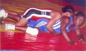 Female wrestlers at tie