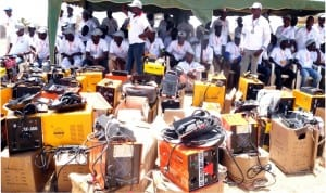 Welding equipment presented at Buba Industrial Village during the graduation of trained youths under Youth Empowerment Programme by Mr Yusuf Buba, member, representing Gombi/Hong Federal Constituency in Hong LGA of Adamawa on Sunday.