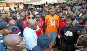 Former Senate President, Senator David Mark (middle), addressing youths of Odugbeho village, during his assessment visit to affected communities recently attacked by herdsmen in Agatu, Benue State.