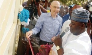 Deputy Governor Martins Babale of Adamawa State (right) inaugurating the UNHCR Relief  Office in Yola recently. with him is the Assistant High Commissioner on  Refugees of UNHCR,Mr Volker Turk.